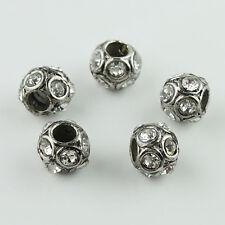5pcs Czech Crystal Tibetan Silver Round Ball Charm Beads for European Bracelet