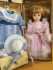 Porcelain Doll W/ Changes of Clothes, accessories & drawer Wood Box carry case!