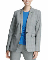 DKNY Womens One-Button Blazer 14 Black & Marina Blue Glen Plaid
