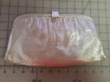 NWT After Five Beige Shimmer Gold Silver Kiss Lock Coin Purse Clutch Evening Bag