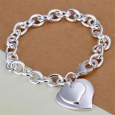 925 SILVER PLT FASHION DOUBLE LOVE HEART CHARM BRACELET / BANGLE / ANKLET LADIES