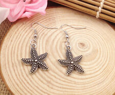 Free shipping Fashion Antique Silver Jewelry  3D Starfish earring