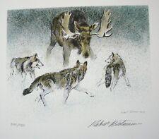 """Robert Bateman """"Wolf Pack and Bull Moose""""  S/N L/E"""