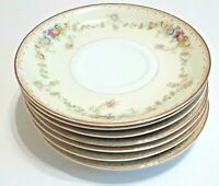 """Meito China. Made in Japan. Hand painted floral saucer plates. 5 1/2"""" set of 7"""