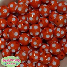 20mm Orange Polka dot Acrylic Chunky Bubblegum Beads 20pc Gumball