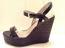 REPORT Black Patent Faux Croc High Heel Wedge Platform Strappy Sandals  Size 8.5