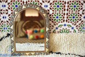 Moroccan brass mirror arched mirror wall decor Bon inlay mirror bone wall decor