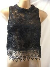 LADIES NWT Hearts & Bows 6 BLACK MESH/FLOCKED PAISLEY/LACE TRIM/CROPPED TOP