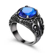 Blue Aquamarine Wedding Ring 18k Black Gold Filled Birthstone jewelry Size 9