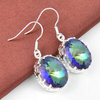 Holiday XMAS Gift Fire Oval Cut Rainbow Mystic Topaz Gem Silver Dangle Earrings