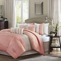 Elegant New Coral Taupe Cal King Queen Comforter Sham Bedskirt 7 pcs set BEDDING