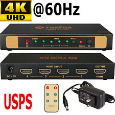 4-Port HDMI 2.0 Switch Selector Splitter 4x1 4K@60Hz 1080P 3D HDCP2.2 +Remote