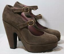 ROBERT CLERGERIE SHOES PLATFORM PUMP TAUPE DOUBLE BUCKLE MARY JANE HEELS 7.5