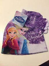 Disney Frozen Elsa Anna GIRLS Beanie Hat and Glove Set Sisters Purple