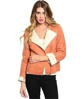 Women Faux Shearling Sherpa Suede Leather Fitted Outerwear Moto Jacket S M L NEW