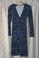 Jigsaw ~ Blue Floral Viscose Blend Wrap Dress ~ Size S