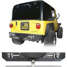 Rear Bumper w/ LED Accent Lights & D-Shackles For 1987-2006 Jeep Wrangler YJ TJ