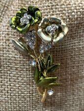 Rhinestone & Enamel Double Flower Brooch