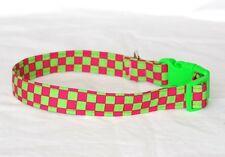 """1"""" Medium Snap Closure Dog Collar Pink and Green Checks"""
