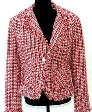 ✅ RARE Lipstick Women's L Large Beautiful Red Black White Jacket w/Shag Trim