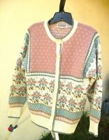 THE IMPORT WORKSHOP S M KAWAII EASTER PINK MAUVE CHAMBRAY FLORAL SWEATER WOMEN