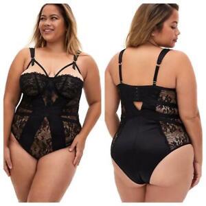 Torrid 5 (5X, 28) New Sexy Black Satin & Lace Cheeky Underwire Lingerie Bodysuit