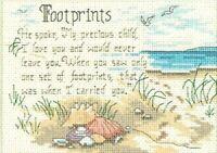 "FOOTPRINTS Sand HE SPOKE Cross Stitch Kit Dimensions 5"" x 7"" beach faith gift"
