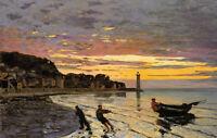 Oil painting Claude Monet - Hauling a Boat Ashore, Honfleur seascape canvas