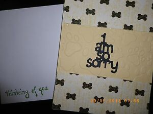 Handmade Beloved Pet Dog Cat Sympathy Card Embossed Thinking of You ~ORIGINAL~