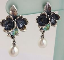 Authentic Trollbeads Sterling Silver Flowers Dangle Pierced Earrings 56102
