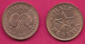 GHANA HALF PESEWA 1967 UNC BUSH DRUMS,DATE DIVIDED BY STAR,DENOMINATION BELO