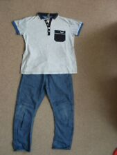 Boy's 2pc set MATALAN 100%cotton blue jeans elasticated &top grey blue sz 11-12y