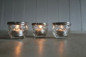 candle holders Set Of 3 glass and metal rimmed H5.5cm W6.5cm