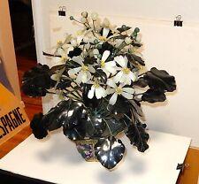 "HUGE 18"" HIGH CLOISONNE ENAMEL WHITE JADE MASSIVE GREEN FLOWER LEAFS TREE"
