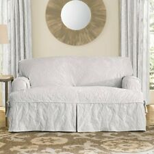 Sure Fit Matelasse Damask T-Cushion Sofa slipcover white couch protector