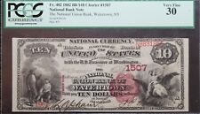 1882 $10 National Bank Note Watertown NY PCGS VF30 Rare Note!