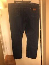 Men's Wrangler Cotton Jeans Classic Fit Size 48x32 Dark Blue GUC Denim Cowboy