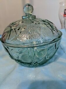 Fruit embossed small covered glass dish