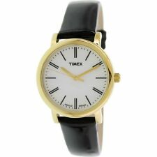 TIMEX INDIGLO LIGHT GOLD TONE,SHINY BLACK PATENT LEATHER BAND WATCH T2P371