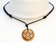 Pentagram Necklace Choker Wood Mens Ladies Pentacle Pagan Necklace Witch Pendant