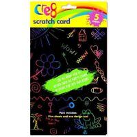 5 x Childrens Kids Rainbow Scratch Art Kit Colourful Stencil Art Cards Crafts