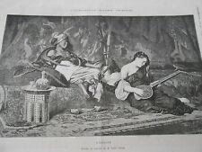 Gravure 1874 - L'esclave d'après Louis Leloir ( femme guitare )