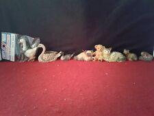 Lot 7 Miniature Doll House Animal Duck Swan Cat Teddy Bear Fox Iguana Figurine