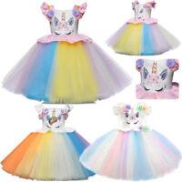 Kids Flower Girl Party Unicorn Tutu Tulle Dress Rainbow Wedding Pageant Princess