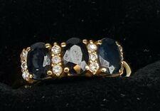 VINTAGE 18 CT GOLD THREE STONE SAPPHIRE & DIAMOND RING  SIZE L 1/2  5 /8