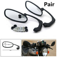 Pair Universal Motorcycle Cafe Racer Retro Oval Black L-bar Rearview Side Mirror