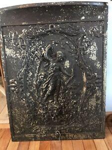 Antique Art Nouveau Large Wood Stove Fireplace Door Cast Iron Cherub 1800s