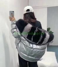 2019 Fashion Girl's Women Puffer Down Coat Big real fur Hooded reversible Jacket