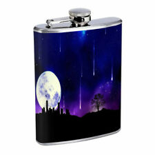 Shooting Star Moon Em1 Flask 8oz Stainless Steel Hip Drinking Whiskey