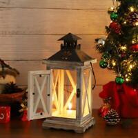 Wooden Metal Vintage Tea Light Candle Holder Moroccan Hanging Lantern Home  D1
